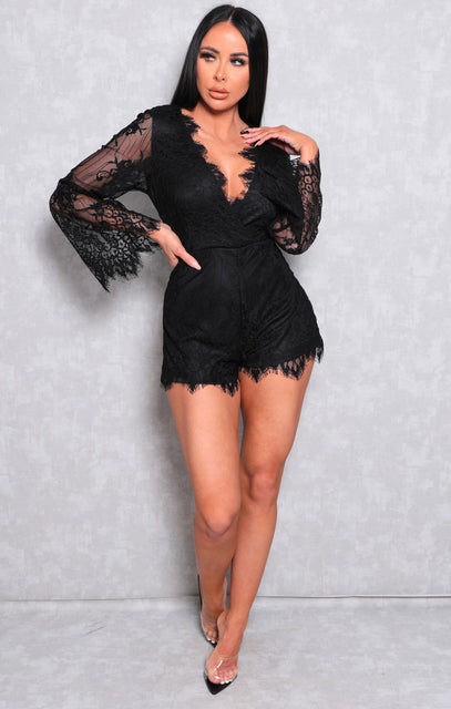 Black Wrap Front Lace Flare Sleeve Playsuit - Eldora