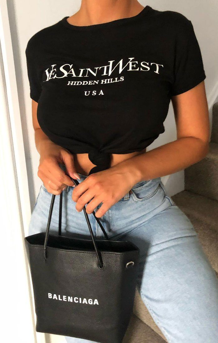 Black 'YeSaintWest' Slogan Cropped Top - Zoie
