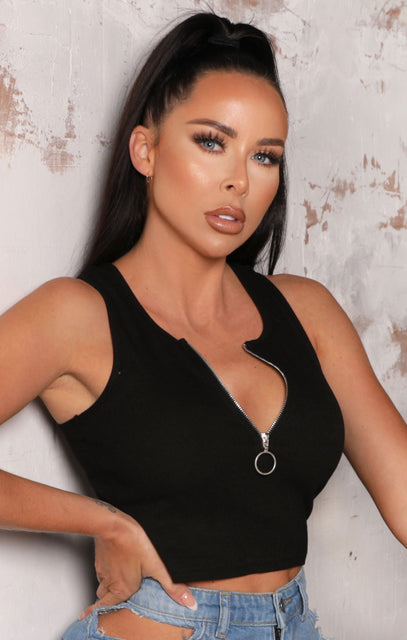 Black Zip Up Ribbed Crop Top - Sarah NO PRICE DONT PUT LIVE