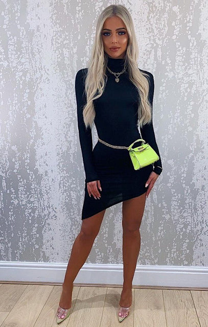 Black Long Sleeve High Neck Split Bodycon Dress - Sabrina