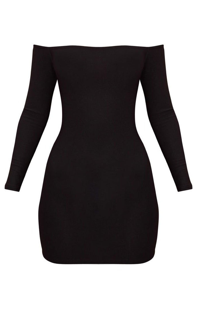 Black Bardot Bodycon Dress - Montana