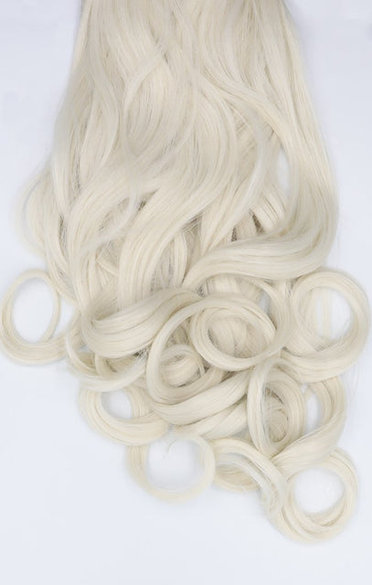 "Bleach Blonde 20"" Synthetic Curly Hair Extensions Clip In Piece - Dion"