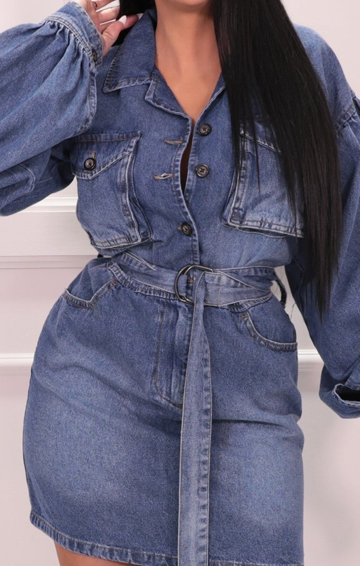 Blue Belted Pocket Detail Denim Mini Dress - Tehani