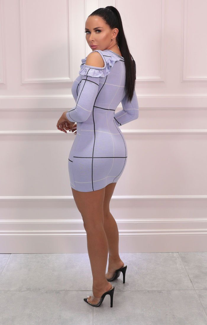 Blue Cut Out Shoulder Check Bodycon Mini Dress - Abina