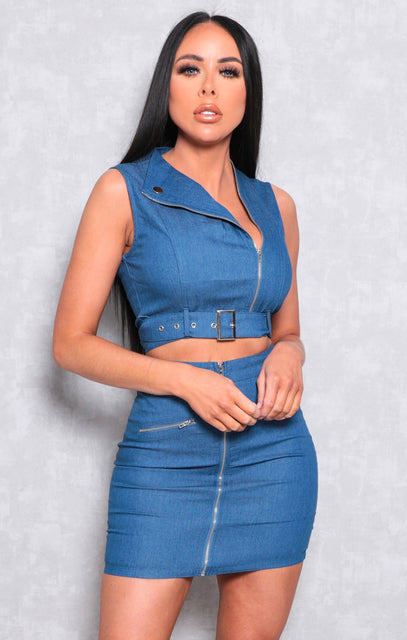 Blue Dark Wash Zip Detail Denim Co-ord - Sophia