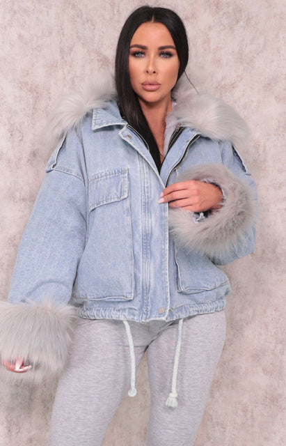 Blue Denim Grey Faux Fur Fluffy Oversized Jacket - Sacha