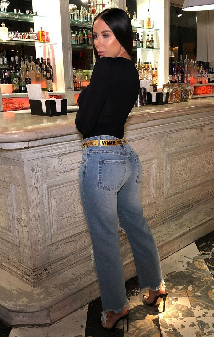 Blue Denim Knee Ripped Mom Jeans - Melany