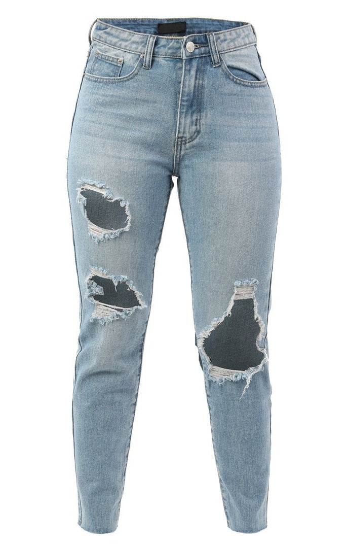 Blue Denim Large Ripped Mom Jeans - Dallas