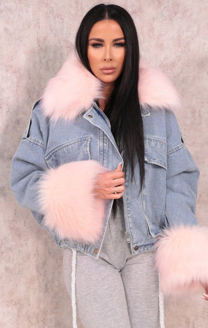 Blue Denim Pink Faux Fur Fluffy Oversized Jacket - Sacha