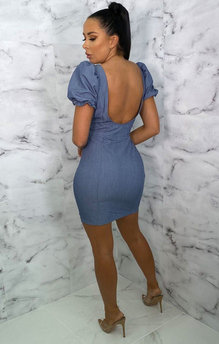 Blue Denim Puff Sleeve Milkmaid Zip Up Mini Dress - Nadia