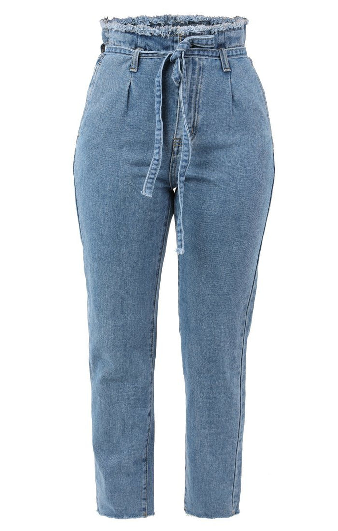 Blue Distressed Waist Belted Mom Jeans - Avah