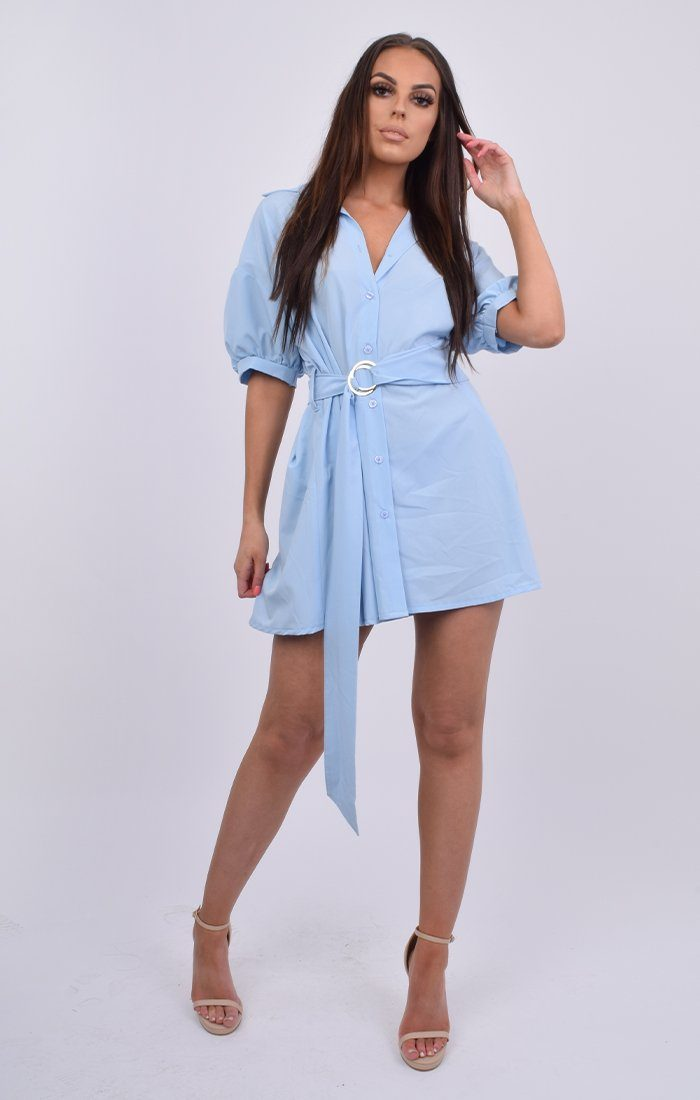 Blue Drop Shoulder Ring Belt Shirt Dress - Janoah