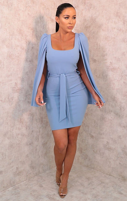 Blue Extreme Flare Sleeve Belted Bodycon Mini Dress - Aria