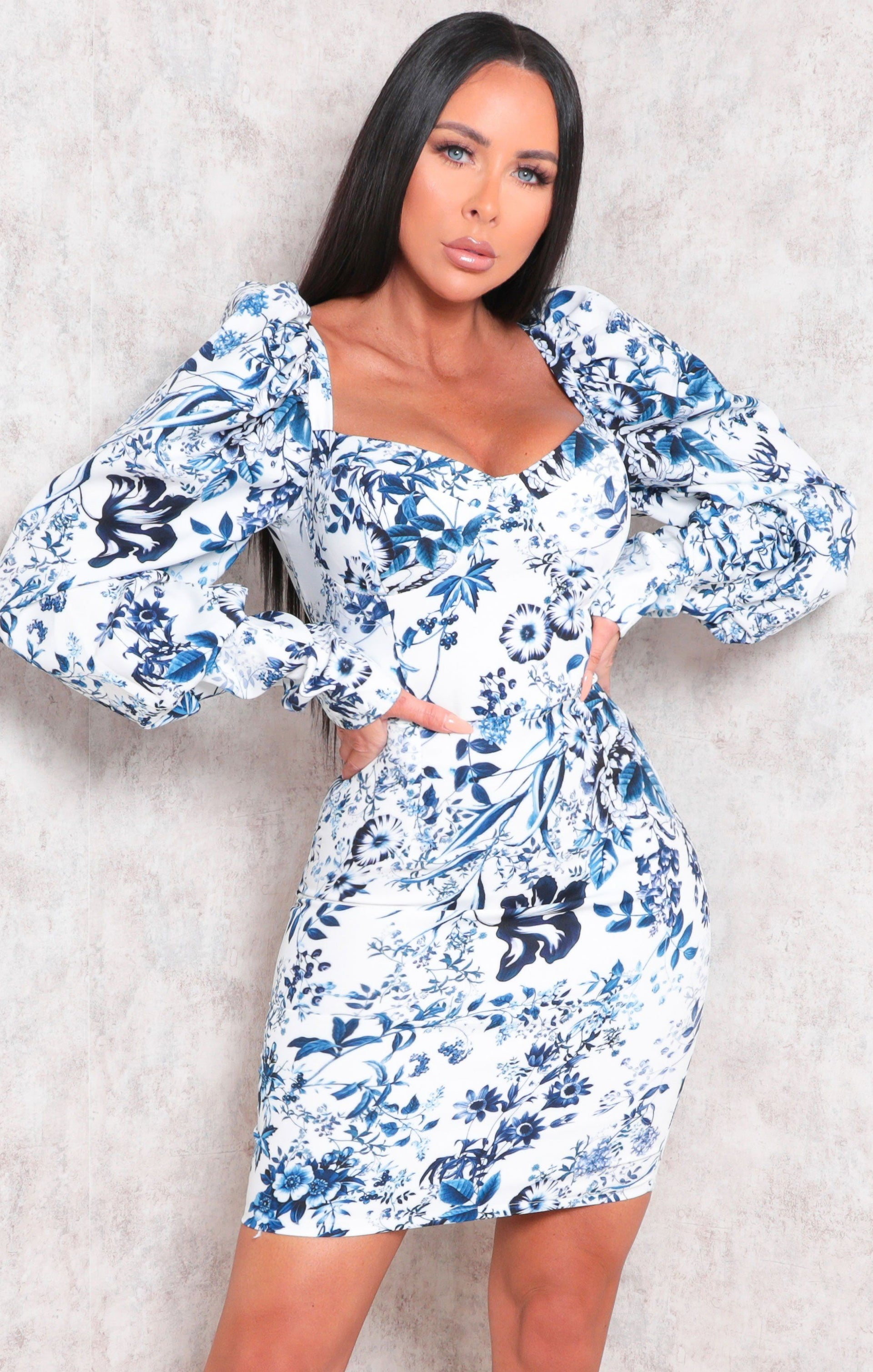 Blue Floral Print Puff Sleeve Bodycon Mini Dress - Nahara