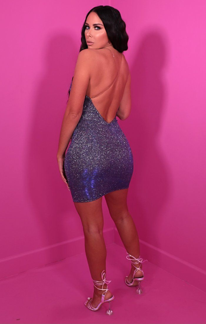 Blue Glitter Clear Strap Plunge Bodycon Mini Dress - Frances