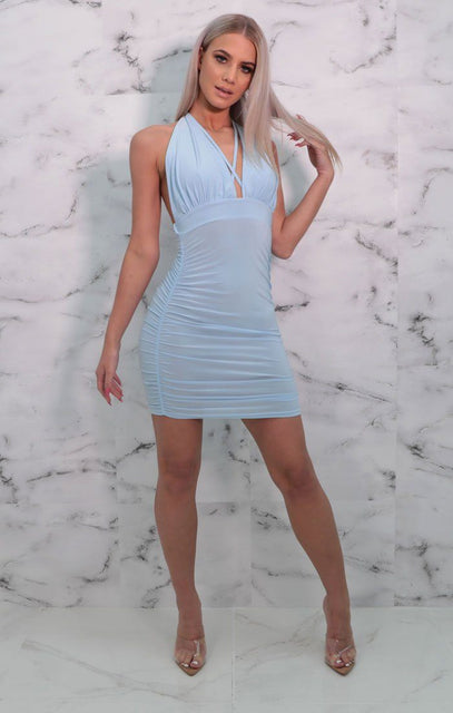 Blue Halterneck Plunge Bodycon Mini Dress - Lottie
