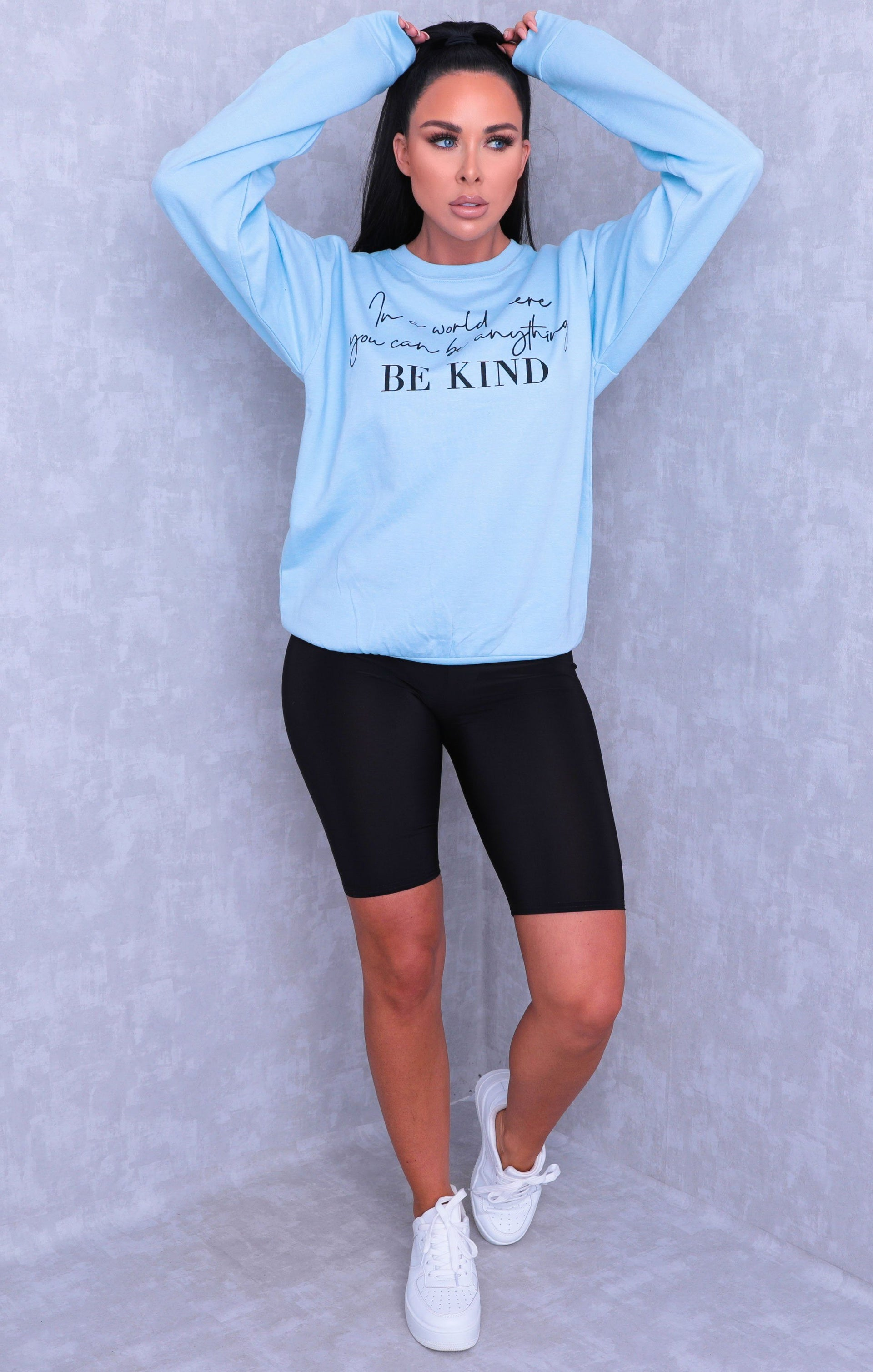 Blue 'In A World Where You Can Be Anything Be Kind' Slogan Sweatshirt - Rosina