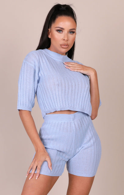 Blue Knitted Ribbed Shorts Co-ord - Celeste