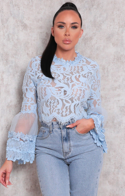 Blue Lace Flare Sleeve Crop Top - Omar
