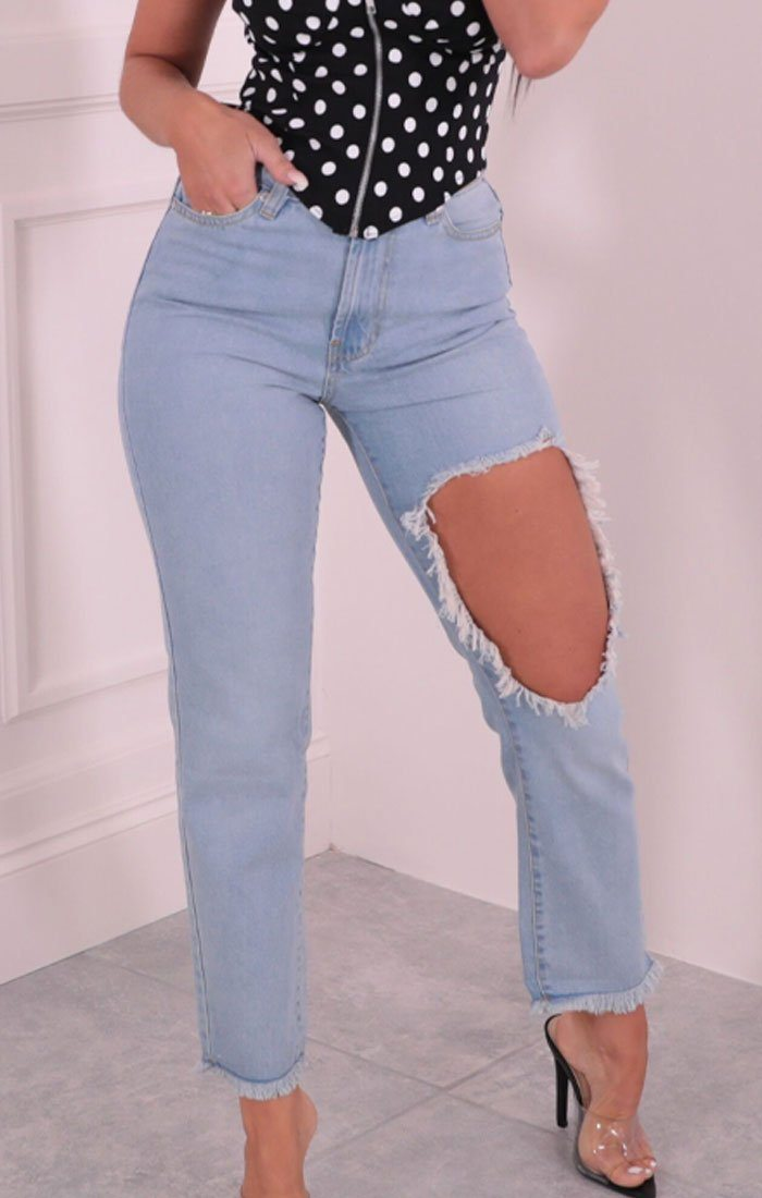 Blue Light Wash High Waisted Extreme Rip Knee Denim Jeans - Bayre