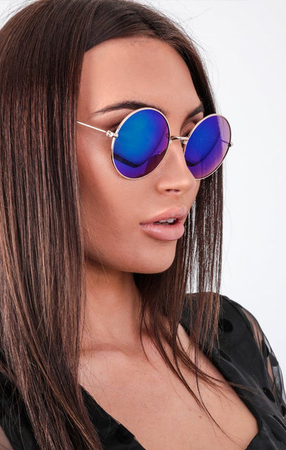 Blue Mirrored Round Sunglasses - Alivia