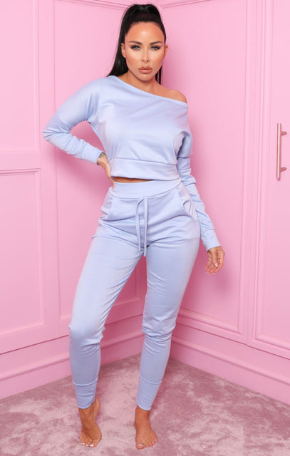 Blue Off Shoulder Loungewear Set – Blake