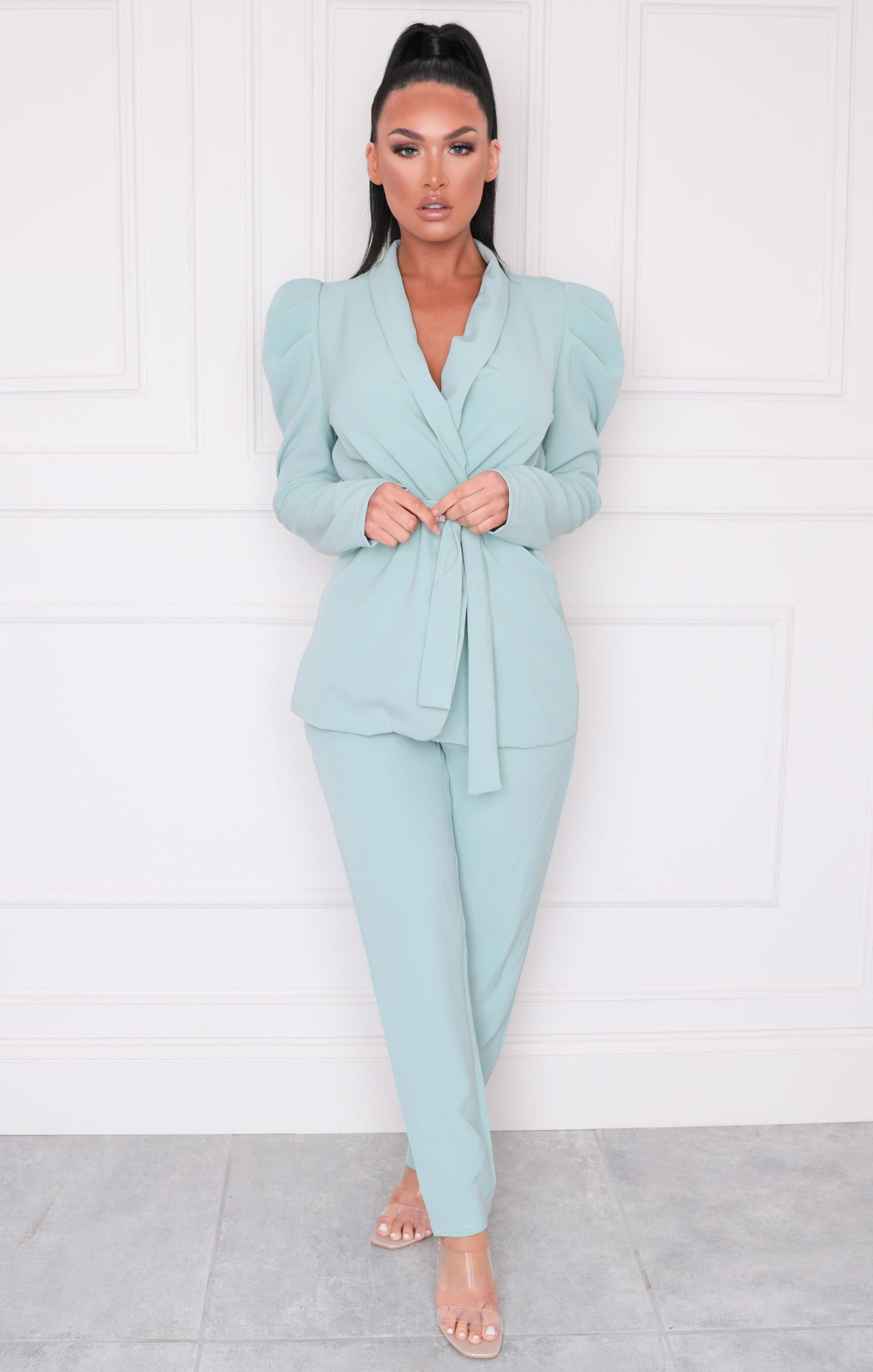 Mint Oversized Belted Blazer & Slim Leg Trousers Co-ord - Kama