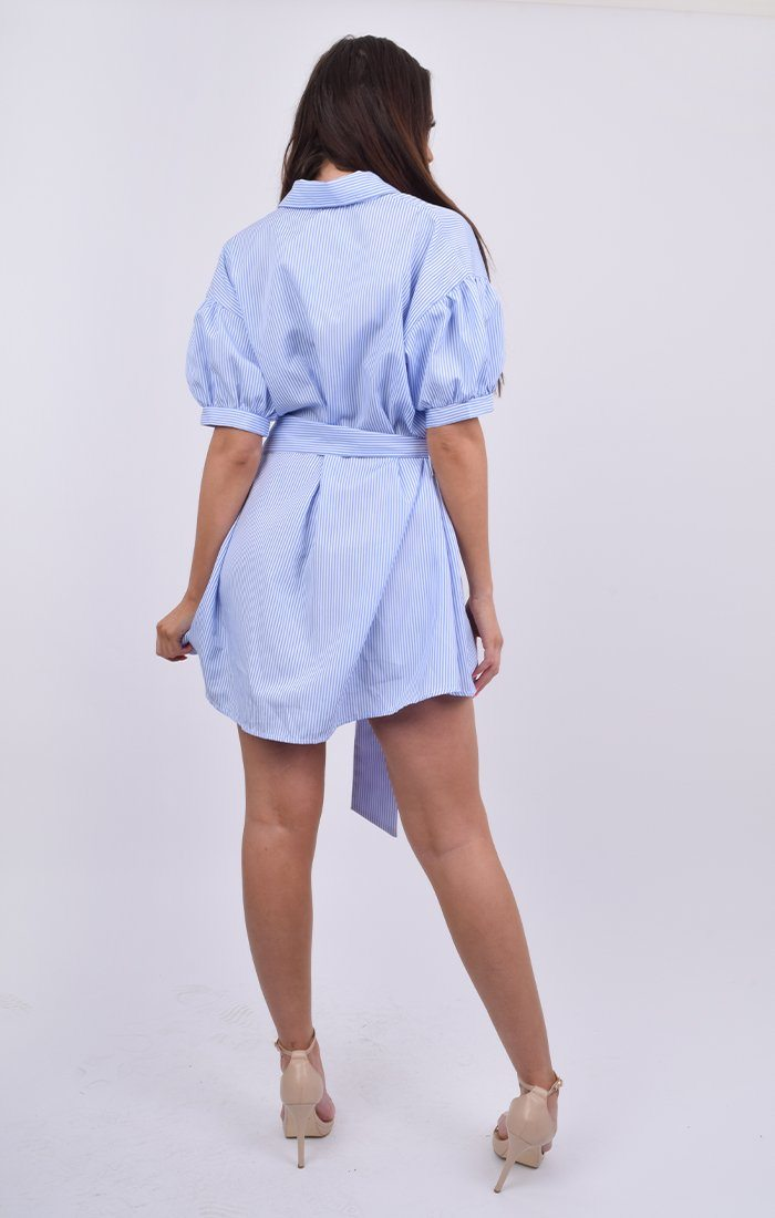Blue Pinstripe Drop Shoulder Ring Belt Shirt Dress - Janoah