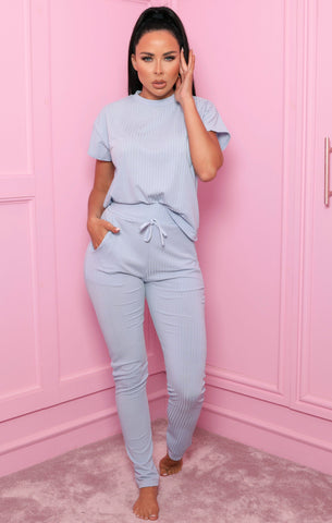 Blue Ribbed Loungewear Sets