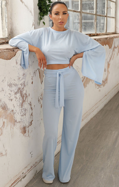 Blue Ribbed Flare Sleeve Loungewear - Neveah