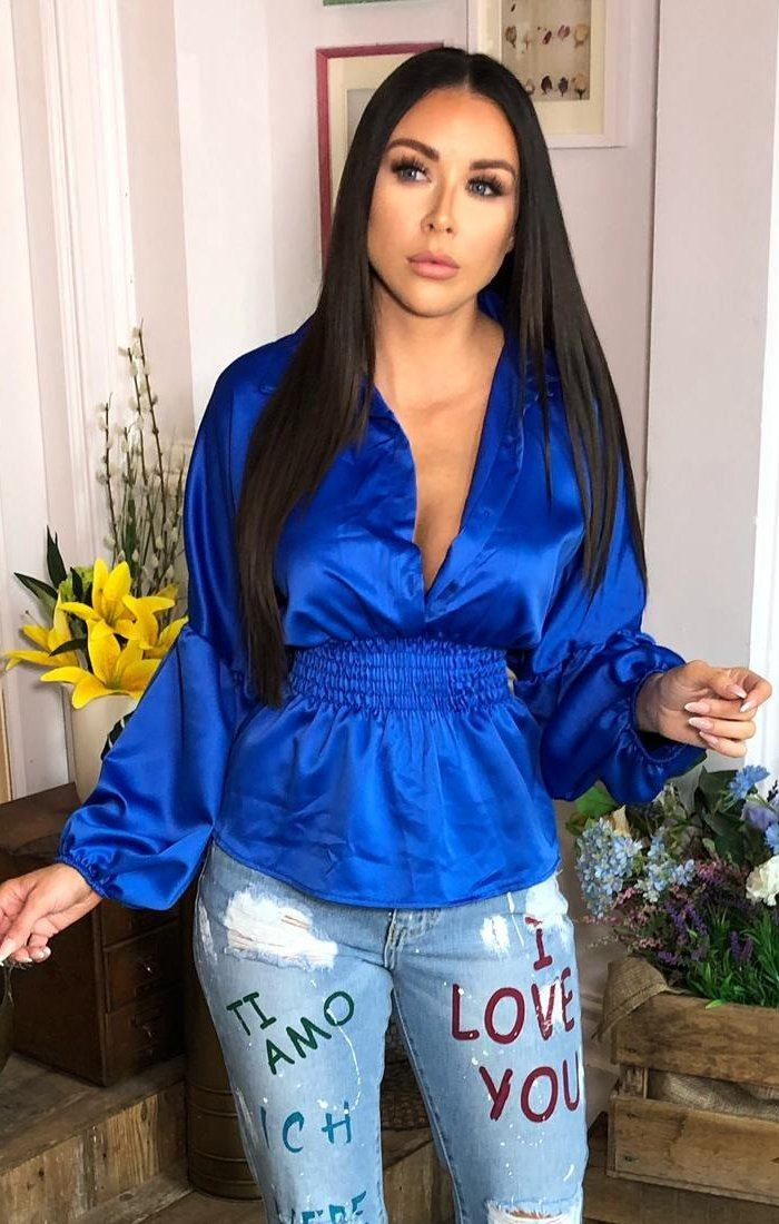 Blue Satin Elasticated Button Shirt - Heidi