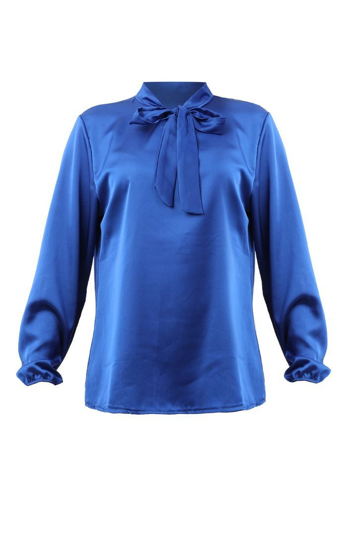 Blue Satin Neck Tie Blouse - Sadie