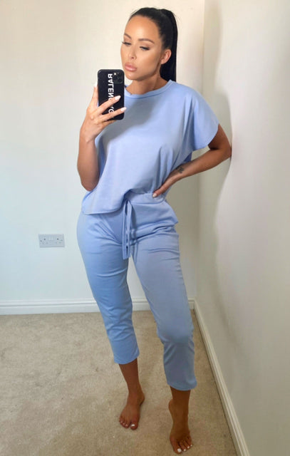 Blue Short Sleeve Boxy Loungewear Set - Lacy