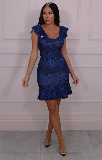 Blue Snake Print Frill Bodycon Mini Dress - Adelio