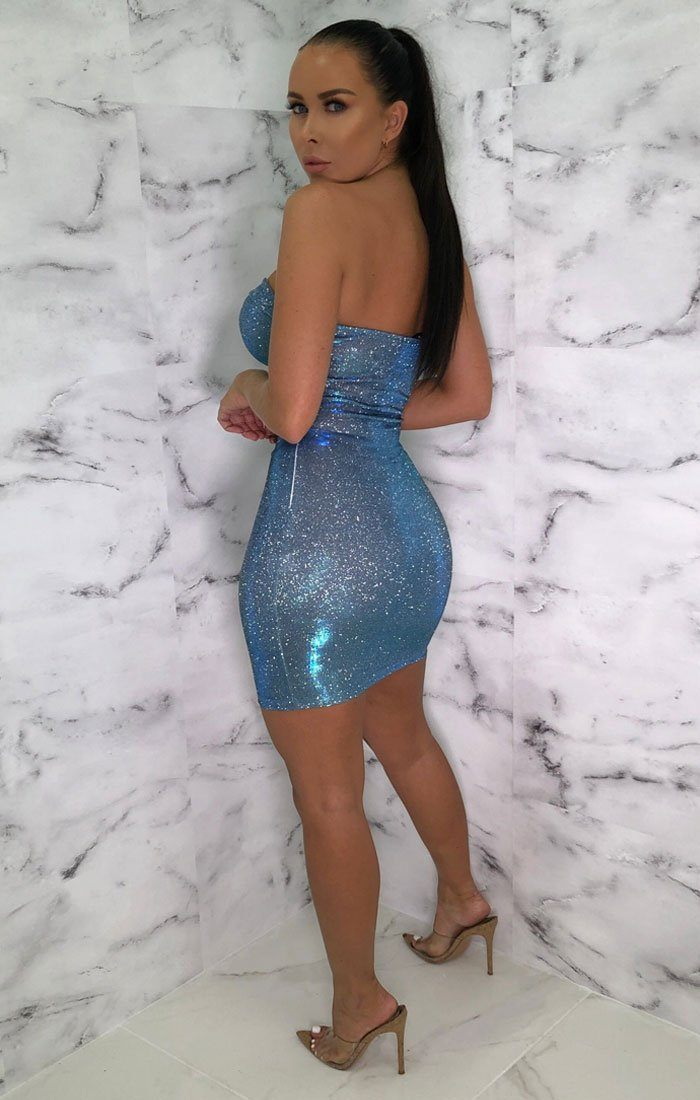 Blue Sparkly Corset Mini Dress - Grace