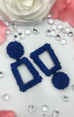 Blue Textured Earrings