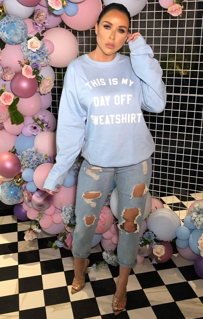 Blue This Is My Day Off Sweat Shirt Print Sweater - Aubree