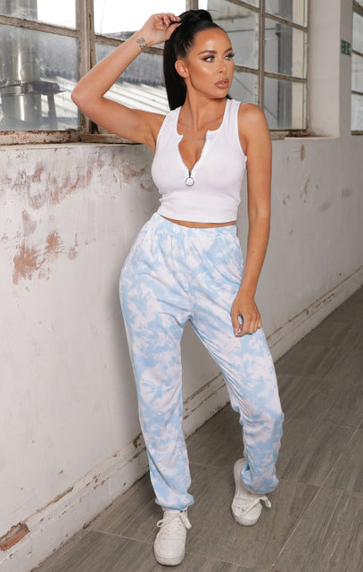 Blue Tie Dye Elasticated Joggers - Halle