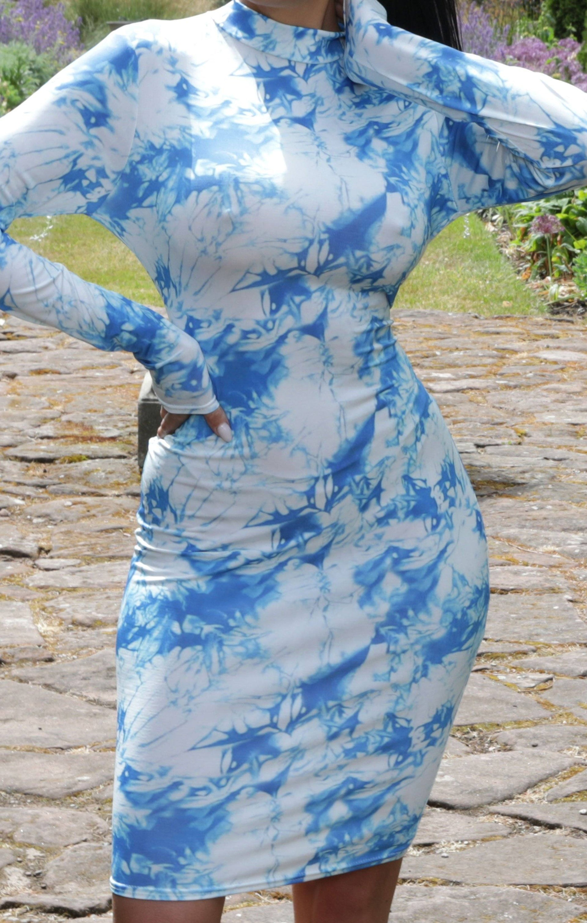Blue Tie Dye Long Sleeve Bodycon Midi Dress - Roberta