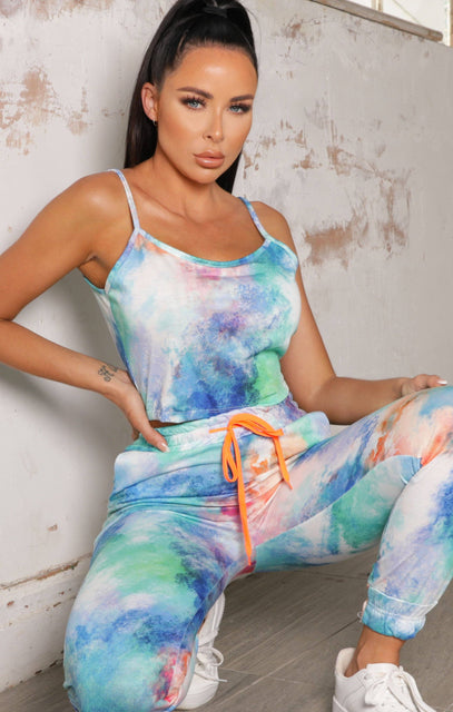 Blue Tie Dye Strappy Crop Top Co-ord - River