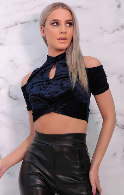 Blue Velvet High Neck Crop Top - Danni