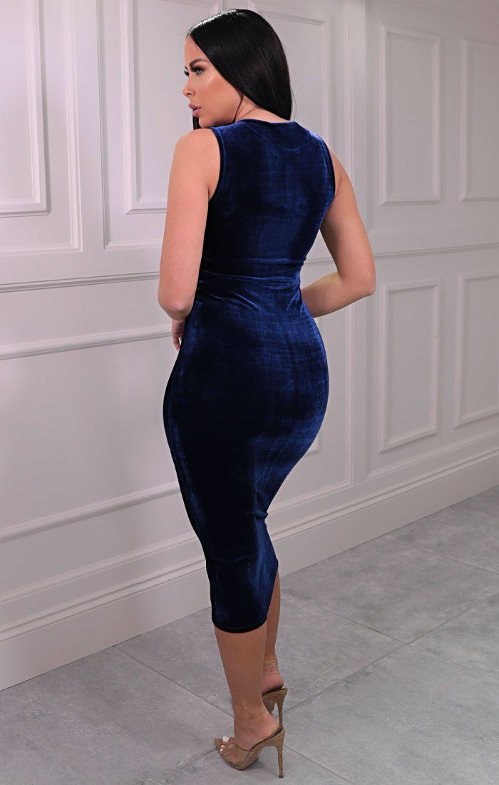 Blue Velvet Sleeveless Midaxi Dress - Faith