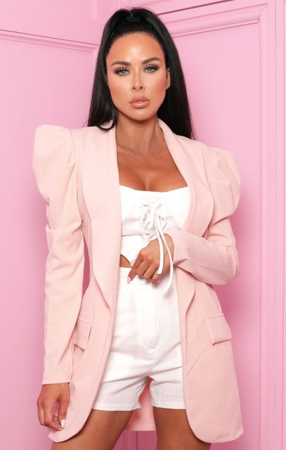 Blush Puff Sleeve Oversized Longline Blazer - Harriet