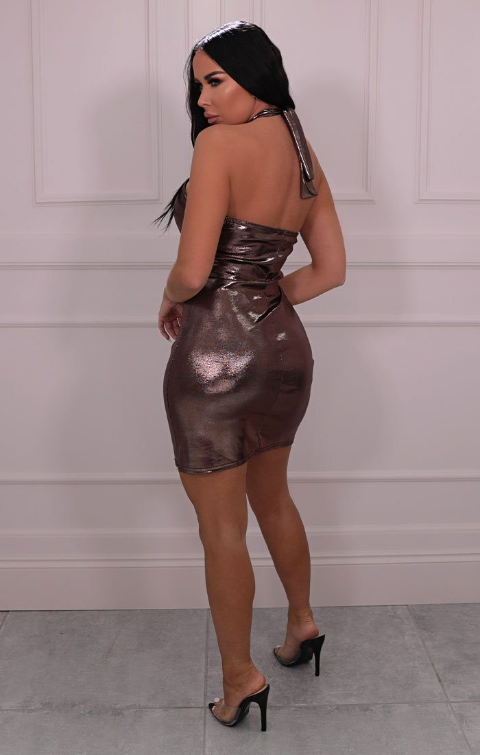 Bronze Metallic Halterneck Bodycon Mini Dress - Fraser