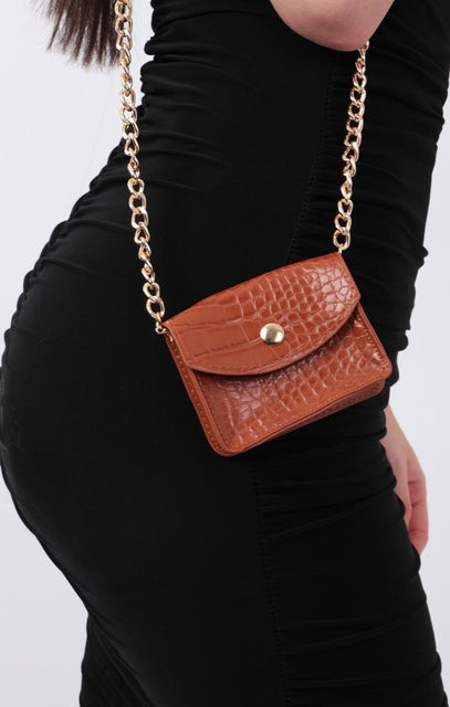 Brown Animal Croc Print Micro Mini Bag - Xanthe