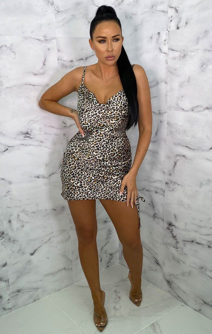 Brown Animal Leopard Print Cowl Neck Satin Mini Dress - Golda