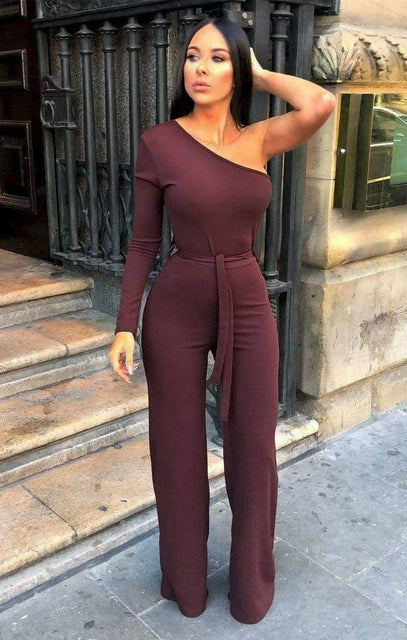 Brown Belted One Shoulder Jumpsuit - Evelyn