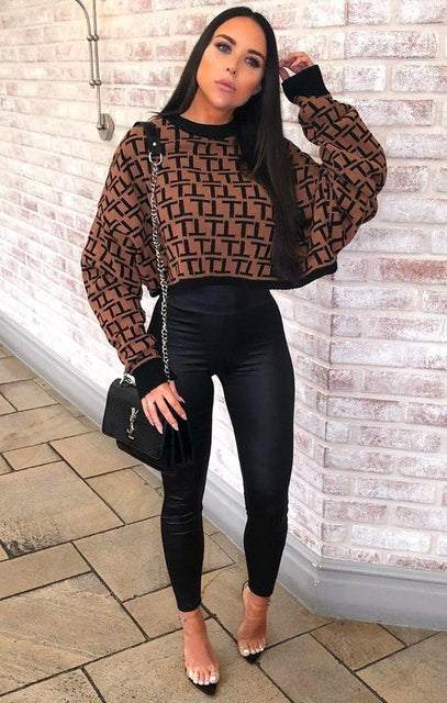 Brown Black Patterned Long Sleeve Crop Jumper - Sienna