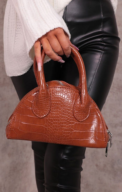 Brown Croc Print Oval Grab Bag - Ellie