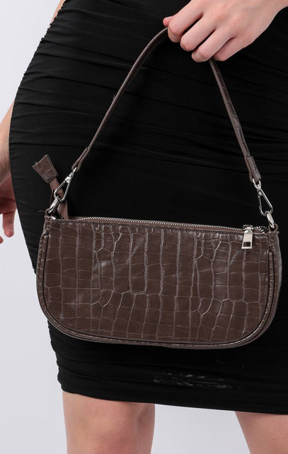 Brown Croc Print Shoulder Strap Bag - Gina